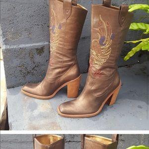 Multi color stitched cowboy boots